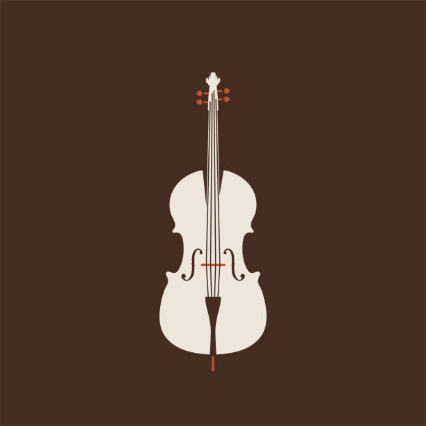 classical cello icon. isolated vector string ill. - instrument strunowy stock illustrations