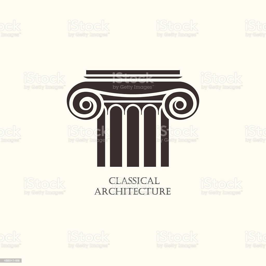 Classical column architecture element. Logo concept for construction company vector art illustration