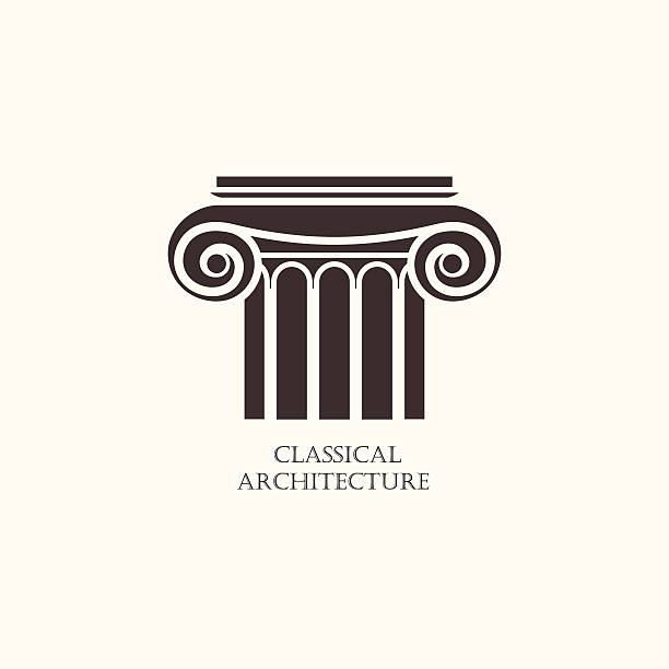 classical column architecture element. logo concept for construction company - architecture silhouettes stock illustrations