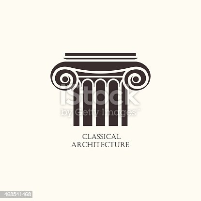 Classical column architecture element logo concept for for S architecture logo