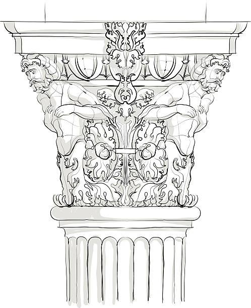 Classical Column. Detail. Sketch vector art illustration