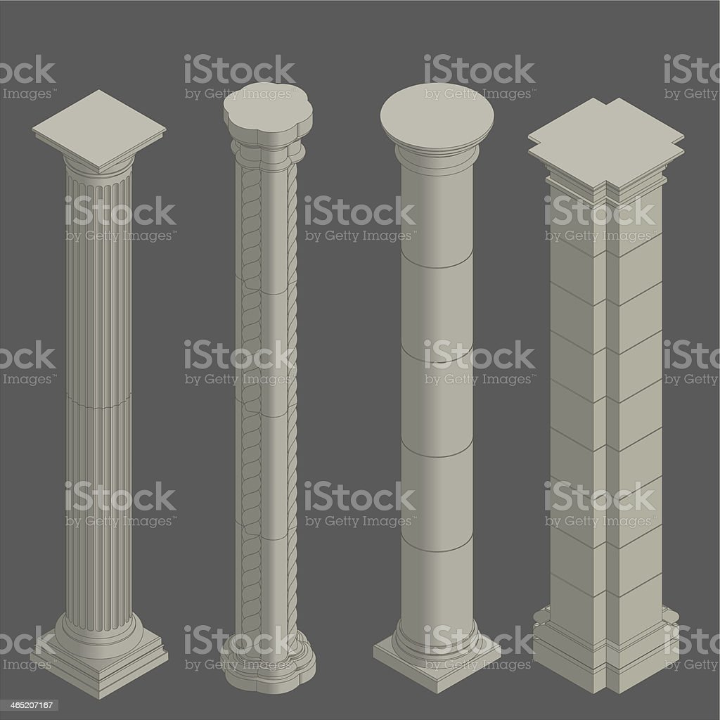 The Columns Apartments: Classical Columns Isometric Stock Vector Art & More Images
