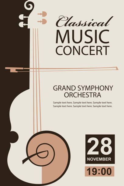 classical concert poster - instrument strunowy stock illustrations