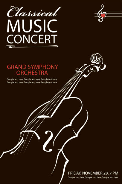 classical concert poster - skrzypce stock illustrations