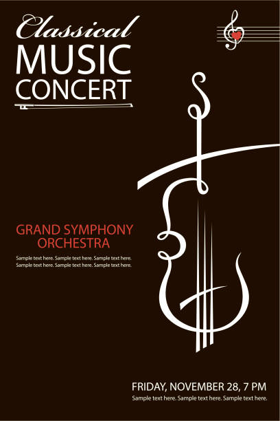 bildbanksillustrationer, clip art samt tecknat material och ikoner med klassisk konsert affisch - violin