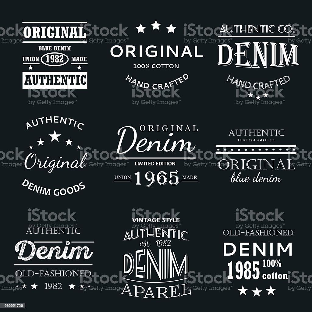 Classical denim jeans typography emblems vector art illustration