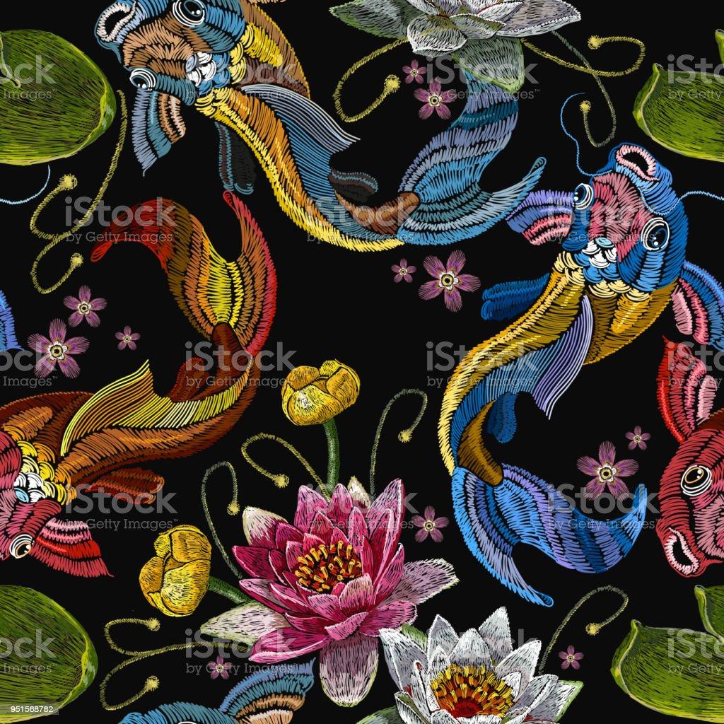 Ilustración de Bordado Clásico Koi Carpa Rosa Y Blanco Lotos Y ...