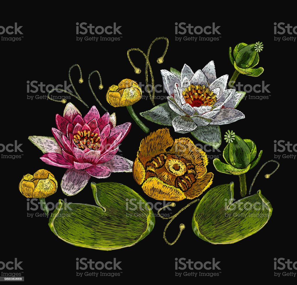 Classical Embroidery Lotus And Water Lilies Template Fashionable