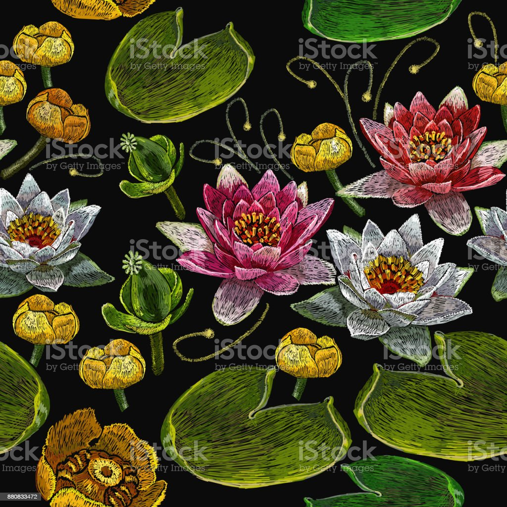 Classical Embroidery Pink And White Lotuses And Water Lilies ...