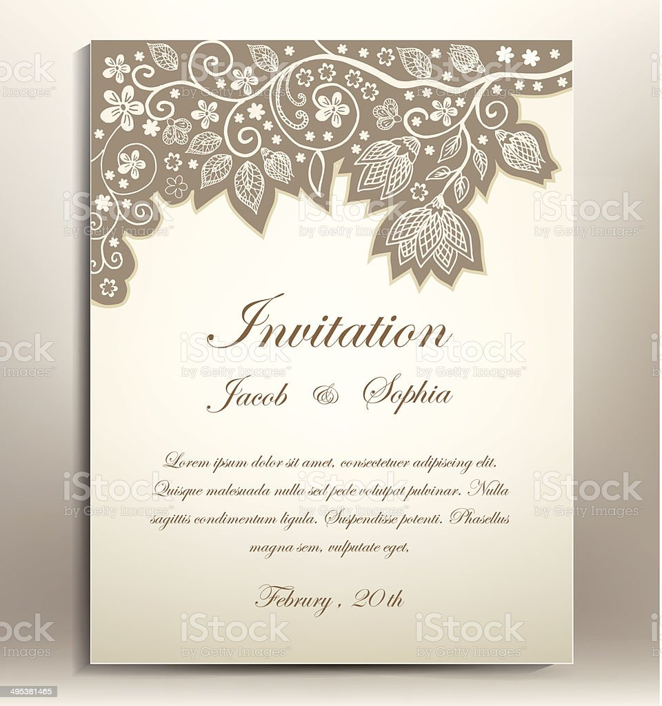 classical floral hand draw wedding invitation vector art illustration