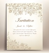 Pretty classical floral invitation for weddings and several kind of parties .it is a hand-draw invitation card ,this elegant bridal invitation with ivory background and floral design that contains flowers leaves,swirls designed for luxury and classical celebrations . this is a vector illustration so each element can be removed and changed easily.and it is suitable also for congratulation,greetings,thanksgiving,gift card,mothers day card,,,by just changing the text ,the text is written with the Edwardian script.