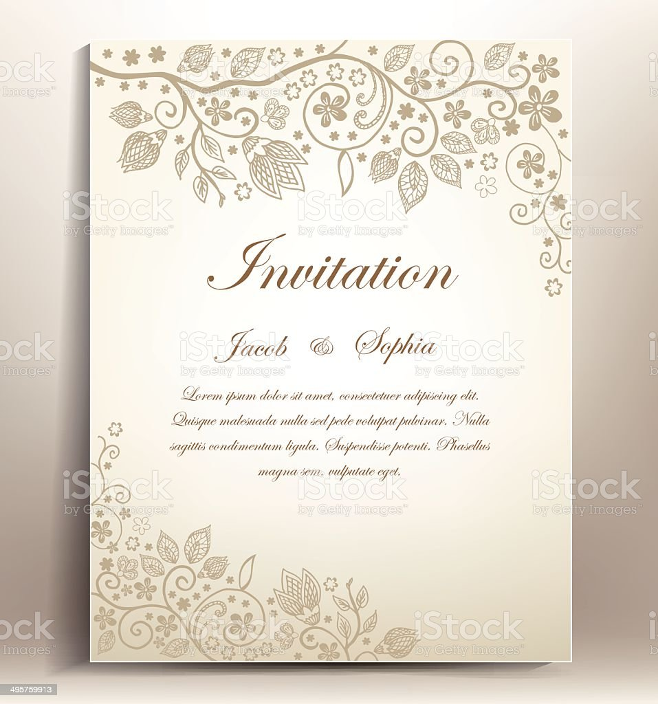 classical floral hand draw wedding invitation, vector art illustration