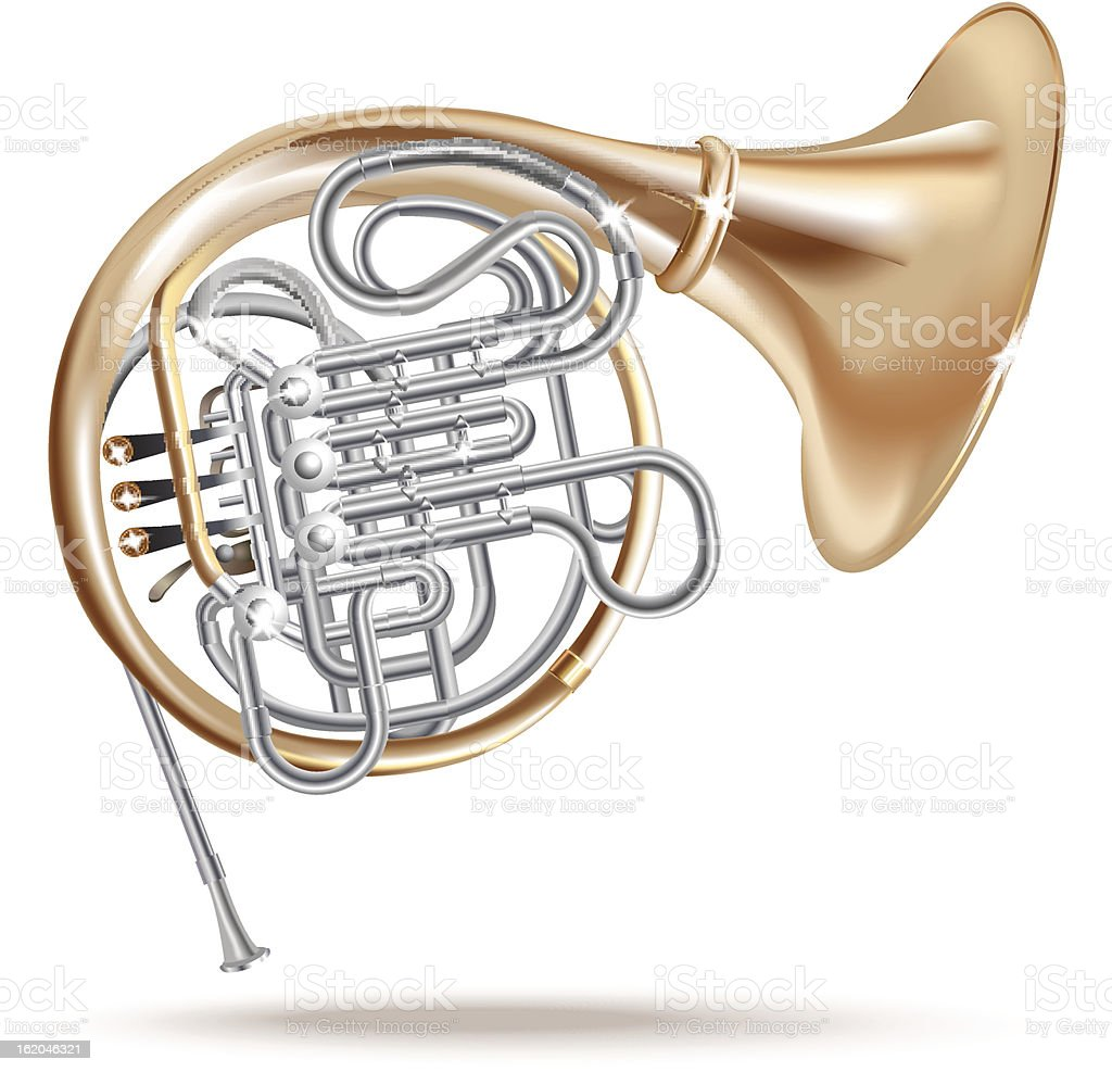Classical French horn. Isolated on white background royalty-free stock vector art