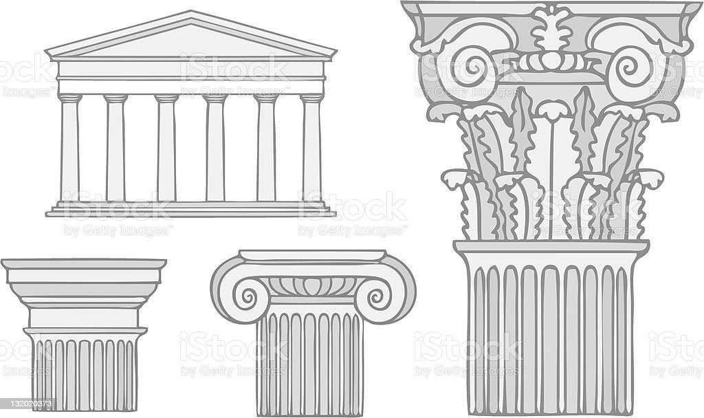 classical greece style columns vector vector art illustration