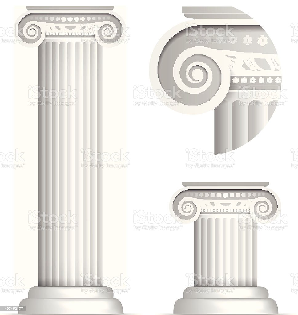 Classical Greek or Roman Ionic column vector art illustration