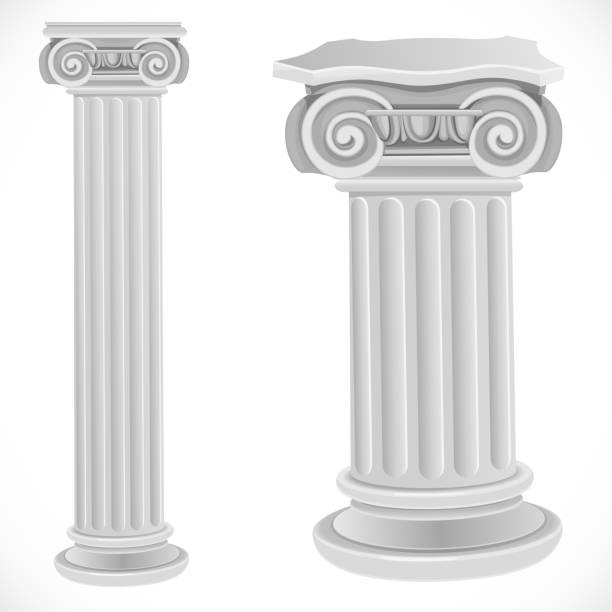 Classical greek or roman ionic white column isolated on white ba Classical greek or roman ionic white column isolated on white background romanesque stock illustrations