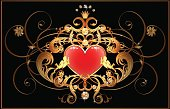 Classical label with gold floral pattern, angels, jewels and button as red heart on black background. No mash. Files include: Illustrator CS5, Illustrator 10.0 eps, SVG 1.1, pdf 1.5, JPEG 300 dpi, organized by layers, easy to edit.