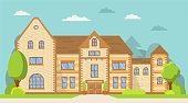 Flat vector.Rural housing village.Rent and purchase of housing.