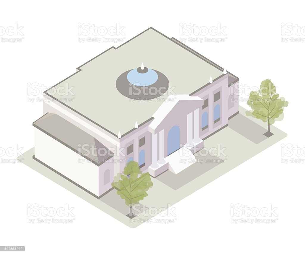 Classical museum building illustration vector art illustration