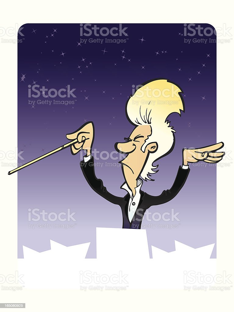 Classical music conductor on a performance royalty-free stock vector art