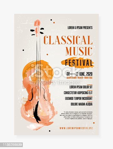 Classical music festival poster template with grungy background and abstract watercolor viol - vector illustration