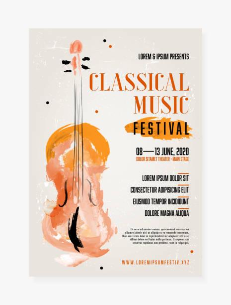 bildbanksillustrationer, clip art samt tecknat material och ikoner med affisch mall för klassisk musik festival - violin
