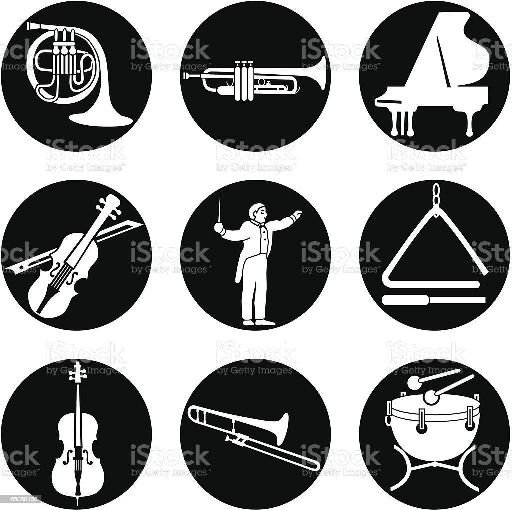 classical music icons reversed royalty-free stock vector art