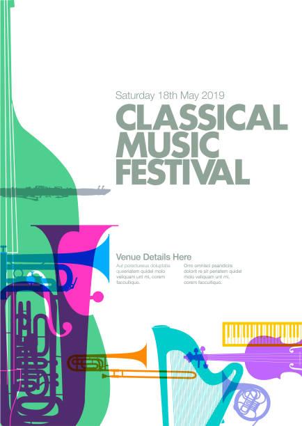 bildbanksillustrationer, clip art samt tecknat material och ikoner med klassisk musik affisch - orkester