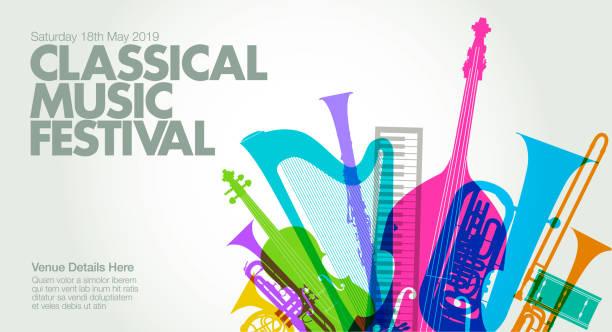 classical music poster - klarnet stock illustrations