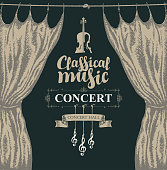 Vector poster for a concert or festival of classical music in vintage style with violin, hand-drawn stage curtains and treble clef on the black background