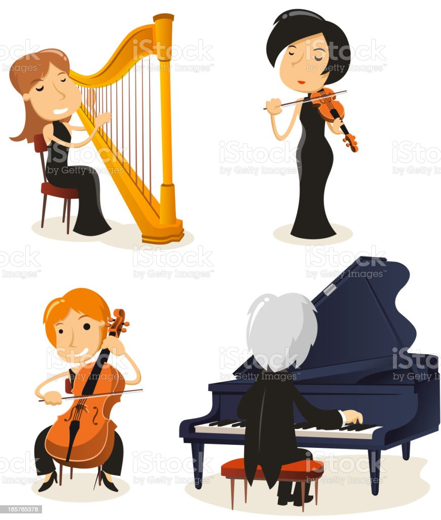 Classical music string vector art illustration