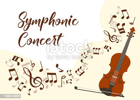 Classical music violin concert vector illustration poster. Symphonic orchestra with violin live concert. Virtuoso performance promo poster with musical notes, typography and violin, musician instrument.