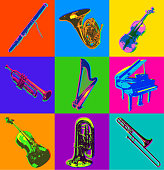 istock Classical Musical Instrument icons 1198462627