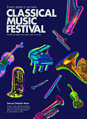 Posterised or Pop Art styled Classical Orchestral musical instruments