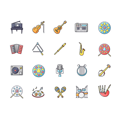 Classical musical instrument RGB color icons set