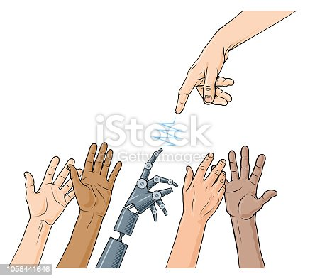 A hand of God style hand reaches down to connect with a robot below. There are 5 layers so editing is easy.charity