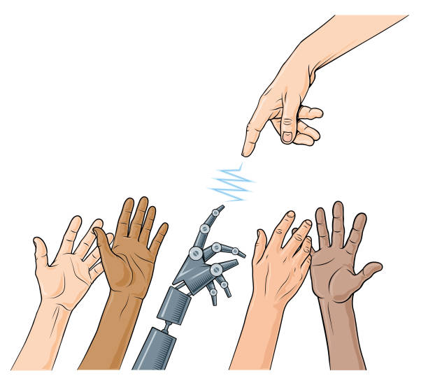 klasik robot el ulaşan - mimari illüstrasyonlar stock illustrations