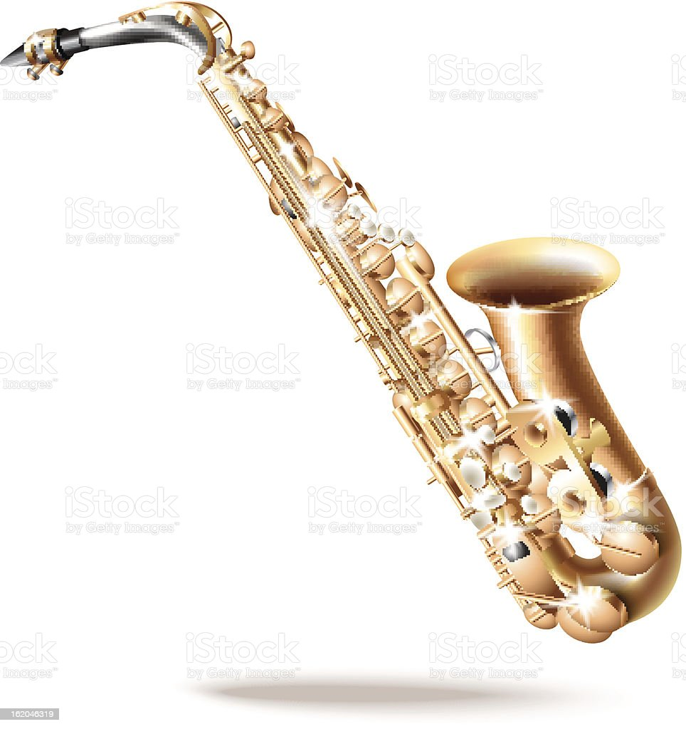 Classical saxophone alto, isolated on white background royalty-free stock vector art