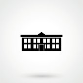 Classical school building flat icon.