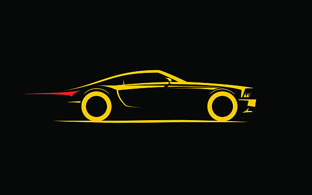 classical stylized car coupe classical stylized car coupe, vector illustration sports car stock illustrations