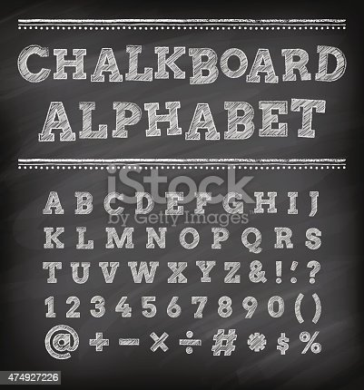 A set of vector classical Typography characters Chalk draw ed on a blackboard background