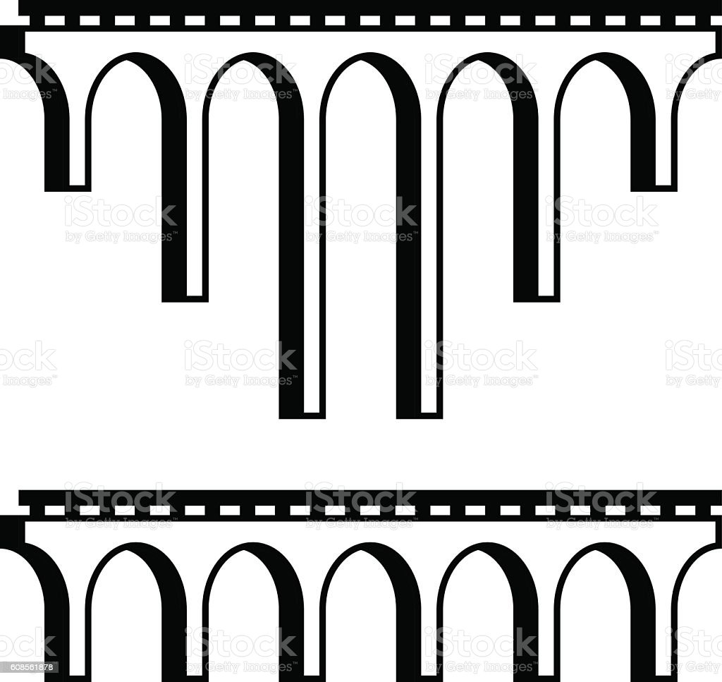 classical viaduct bridge black symbol vector art illustration