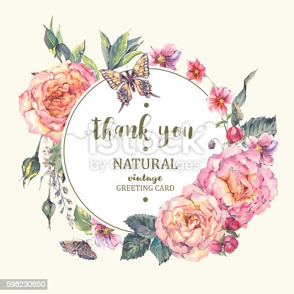 istock Classical vintage roses greeting card 598230850