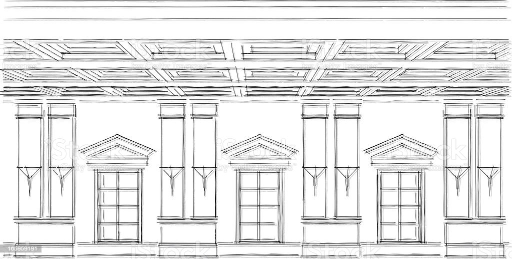 Classical Windows Sketch Stock Illustration - Download Image