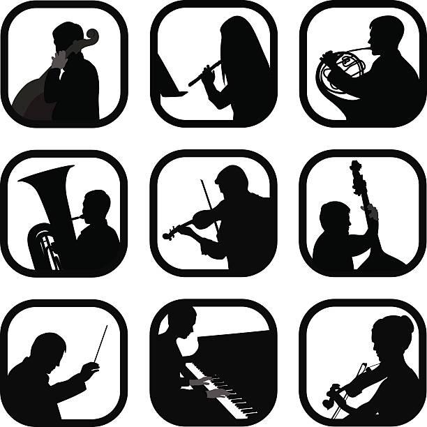 classicalinstrumental - bandleader stock-grafiken, -clipart, -cartoons und -symbole