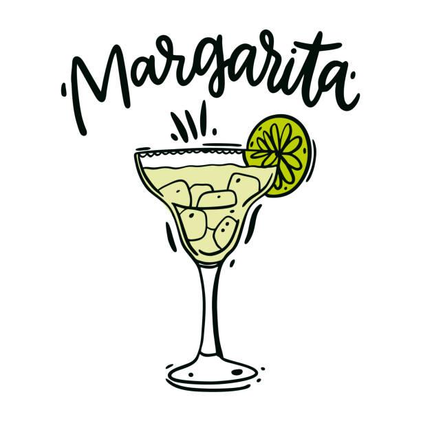 Classics Margarita hand drawn vector illustration and lettering. Classics Margarita hand drawn vector illustration and lettering. Isolated on white background. margarita stock illustrations
