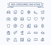 Classified advertisements categories thin line icons set.24x24 Grid. Pixel Perfect.Editable stroke.