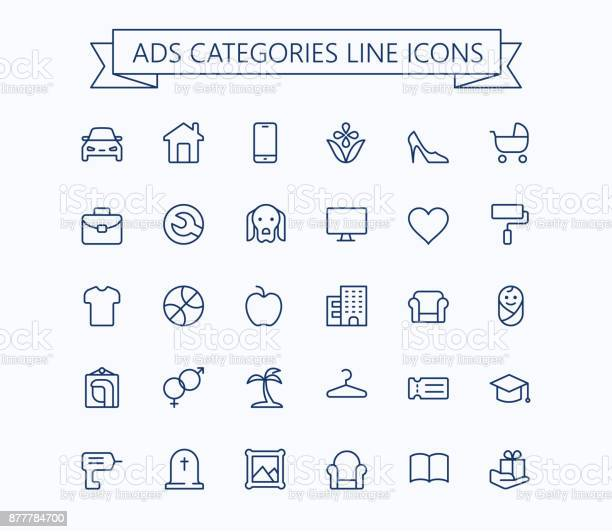 Classified advertisements categories thin line icons set24x24 grid vector id877784700?b=1&k=6&m=877784700&s=612x612&h=h4z2snefhlts vn 0d9p7nyd3juukzc gaortryin3s=