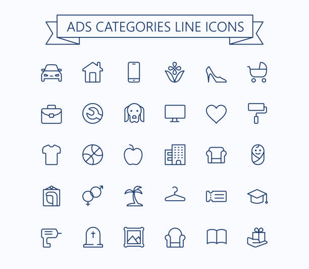Classified advertisements categories thin line icons set.24x24 Grid. Pixel Perfect.Editable stroke. vector art illustration