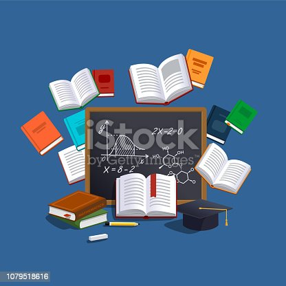 Education and learning concept. Student examination. Vector illustration.